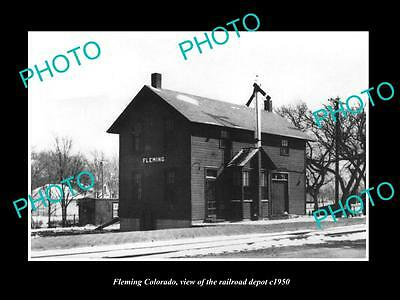 OLD LARGE HISTORIC PHOTO OF FLEMING COLORADO, THE RAILROAD DEPOT STATION c1950