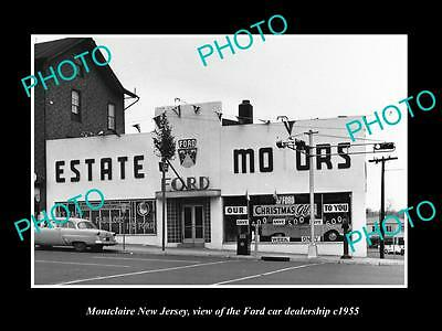 OLD LARGE HISTORIC PHOTO OF MONTCLAIRE NEW JERSEY, THE FORD CAR DEALERSHIP c1955