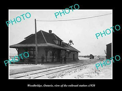 OLD LARGE HISTORIC PHOTO OF WOODBRIDGE ONTARIO, THE RAILROAD DEPOT STATION c1920