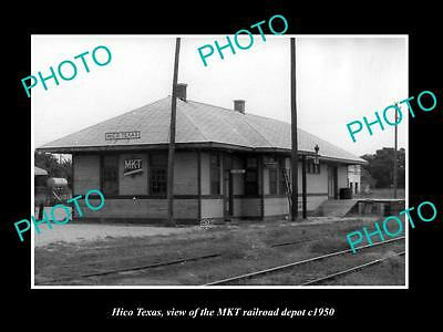 OLD LARGE HISTORIC PHOTO OF HICO TEXAS, THE RAILROAD DEPOT STATION c1950
