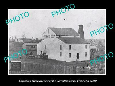 OLD LARGE HISTORIC PHOTO OF CARROLLTON MISSOURI, THE STEAM FLOUR MILL c1880
