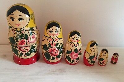 Set Of Six Genuine Russian Dolls/Matryoshka