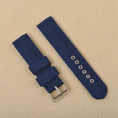 Men Lady Canvas Nylon Watch Band Wristwatch Strap Stainless Steel Buckle Pin New