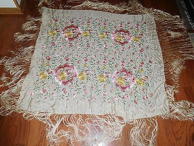 Antique Silk Table Piano Scarf Shawl Floral Embroidered Fringe