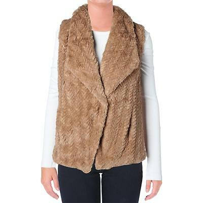 Wild Flower 3741 Womens Brown Faux Fur Lined Hook Front Outerwear Vest XL BHFO
