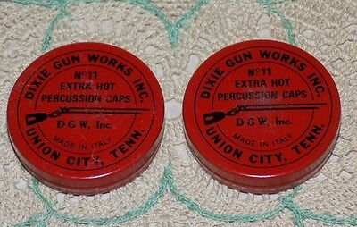 2Vtg DiXiE GUN WORKs inc No11 PERCUSSiON CaPS MeTaL Red TiNS EMPTY Union CiTY TN
