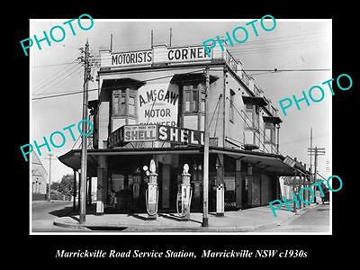 OLD LARGE HISTORIC PHOTO OF MARRICKVILLE NSW, McGAWS SHELL SERVICE STATION c1930
