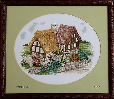 """WATERSIDE MILL"" COMPLETED CROSS-STITCH FRAMED (used)"