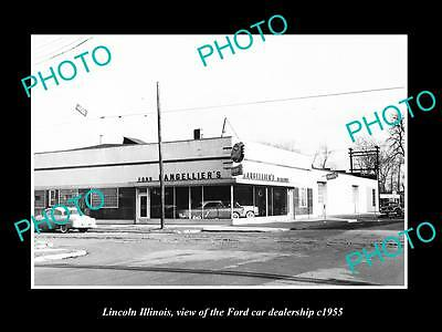 OLD LARGE HISTORIC PHOTO OF LINCOLN ILLINOIS, THE FORD CAR DEALERSHIP c1955