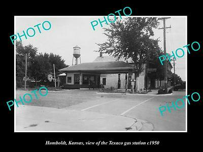 Old Large Historic Photo Of Humboldt Kansas, View Of The Texaco Gas Station 1950