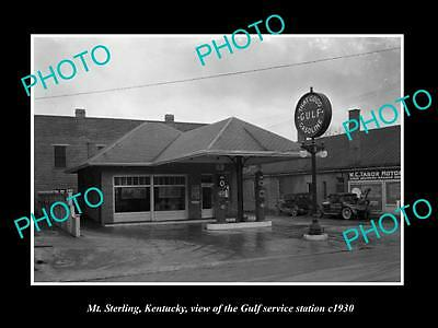 OLD LARGE HISTORIC PHOTO OF MT STERLING KENTUCKY THE GULF OIL GAS STATION c1930