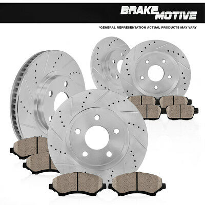 Front & Rear Drilled Slotted Brake Rotors And Ceramic Pads 96-2/97 Audi A4 B5