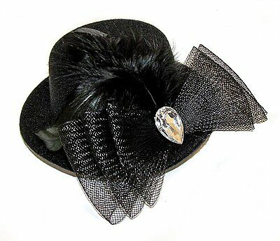 Ladies Girls Mini Black Hat Fascinator on a Hair Clip with Net Feather Bow Gem