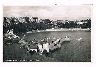 Real Photo B/w  Postcard - General View From Castle Hill Tenby