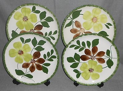 Set (4) Blue Ridge GREEN BRIAR PATTERN Hand Painted DINNER PLATES Piecrust Shape