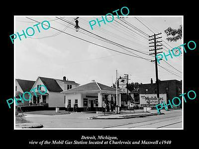 OLD LARGE HISTORIC PHOTO OF DETROIT MICHIGAN, THE MOBIL OIL Co GAS STATION No 5