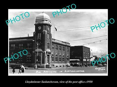 Old Large Historic Photo Of Lloydminster Saskatchewan, The Town Post Office 1950