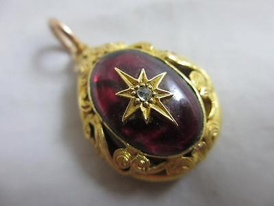 Garnet diamond star 18k 18ct gold locket pendant antique Victorian. tbj02385