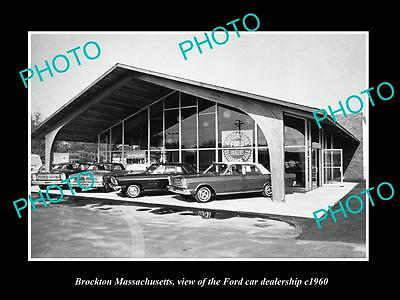 Old Large Historic Photo Of Brockton Massachusetts, Ford Car Dealership 1960 1