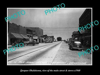 OLD LARGE HISTORIC PHOTO OF QUAPAW OKLAHOMA, THE MAIN ST & STORES c1940