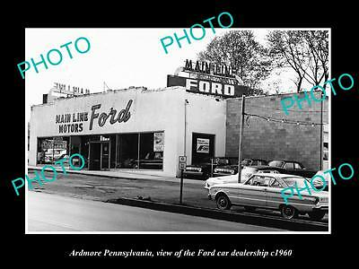 OLD LARGE HISTORIC PHOTO OF ARDMORE PENNSYLVANIA, THE FORD CAR DEALERSHIP c1960