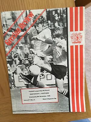 Exeter City v Watford 8.11.1978 League Cup