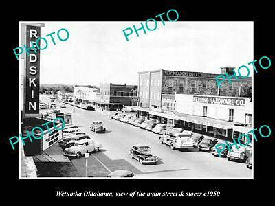 OLD LARGE HISTORIC PHOTO OF WETUMKA OKLAHOMA, THE MAIN STREET & STORES c1950