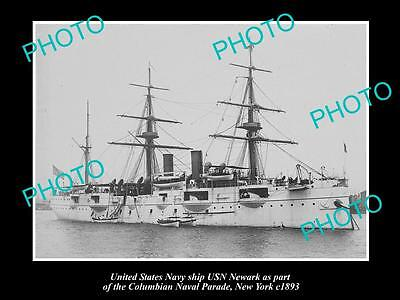 OLD LARGE HISTORIC PHOTO OF US NAVY WARSHIP, THE USN NEWARK c1893, NEW YORK