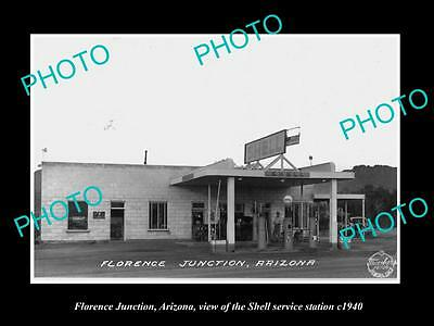 OLD LARGE HISTORIC PHOTO OF FLORENCE ARIZONA, THE SHELL SERVICE STATION c1940