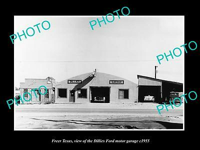 OLD LARGE HISTORIC PHOTO OF FREER TEXAS, THE DILLIES FORD CAR DEALERSHIP c1955