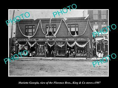 OLD LARGE HISTORIC PHOTO OF MARIETTA GEORGIA, THE FLORENCE & KING STORES c1907