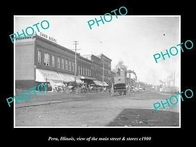 OLD LARGE HISTORIC PHOTO OF PERU ILLINOIS, THE MAIN STREET & STORES c1900