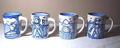 Set of 4 M.A. Hadley Pottery Boy/Man Fishing Scenes Mugs - The End on bottom