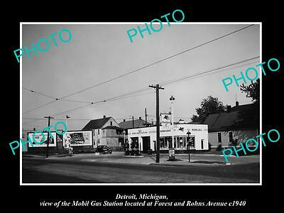 OLD LARGE HISTORIC PHOTO OF DETROIT MICHIGAN, THE MOBIL OIL Co GAS STATION No 7