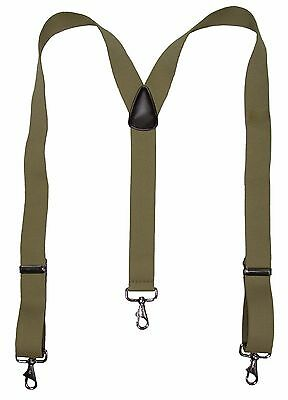 New MTL Men's Elastic Suspender with Metal Swivel Hook Clip End, USA Made, Khaki