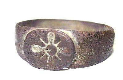 Ancient Rare  bronze Ring with CROSS