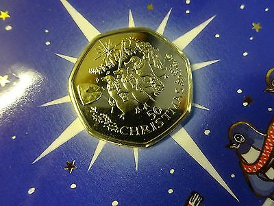 50p GIBRALTAR 1995 Singing Penguins Diamond Finish Christmas Card + Certificate
