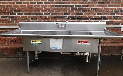 3 Compartment Stainless Steel Commercial Kitchen Sink