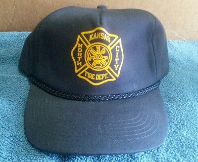 Kansas City Fire Department Navy Blue Adjustable Trucker Hat Lining Costume Cap