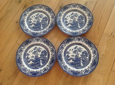 VINTAGE ENGLISH IRONSTONE POTTERY DINNER PLATES - OLD WILLOW PATTERN x4