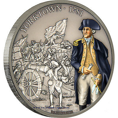 Battle Of Yorktown 1oz Silver Coin Antiqued Niue 20017