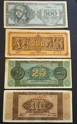 Greece 4 different  banknotes 1944