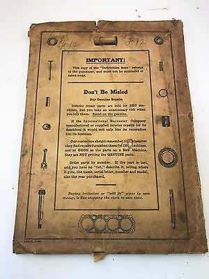1920's IH International HArvester FARMALL F-12 Tractor owners information
