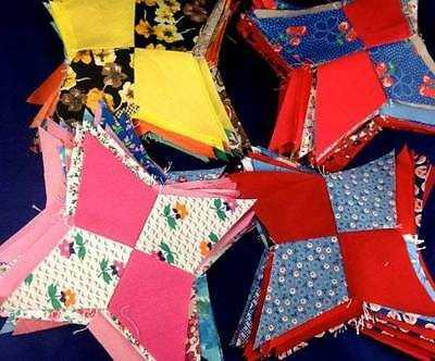 20 Vintage Quilt Blocks 4 Point Stars Cotton Lot Bundle Americana
