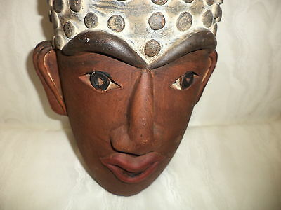 Africian Pottery Planter piece of Art, double sided face
