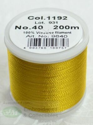 Madeira Rayon 40 Machine Embroidery Thread 200m #1192 TEMPLE GOLD