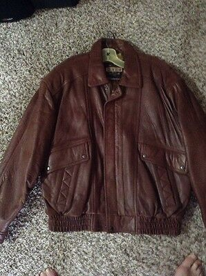 Men's Brown Leather Bomber Jacket Size XL Guide Gear Brand