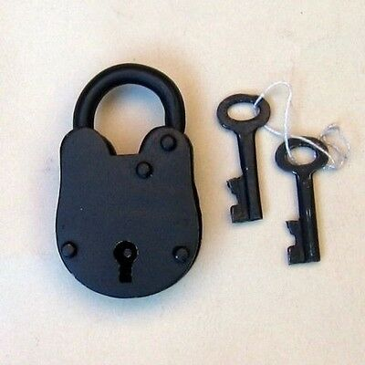 "Antique lock Old Style with Keys 3.5""H / Padlock - Lock and Keys - Jailer Lock"