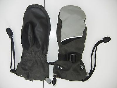 REI Gray/Black Warm WINTER MITTENS Ski Snow Gloves Size Kid YOUTH SMALL Girl Boy
