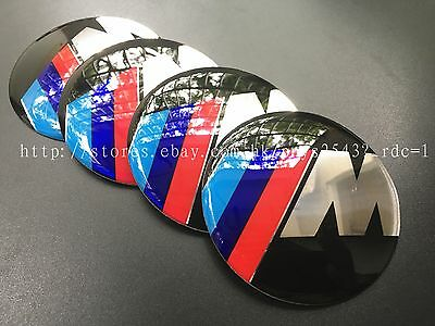 4Pcs 65mm ///M logo Car Wheel Center Hub Caps emblem sticker Accessories for BMW
